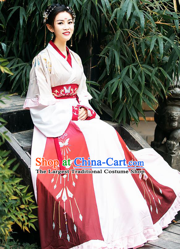China Traditional Jin Dynasty Palace Princess Historical Costumes Ancient Royal Infanta Hanfu Dress Clothing for Women