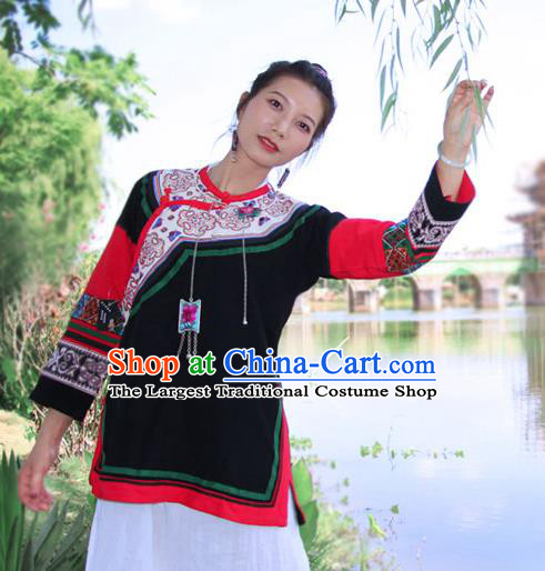 Chinese Embroidered Black Flax Jacket Tang Suit Outer Garment Yunnan National Costume