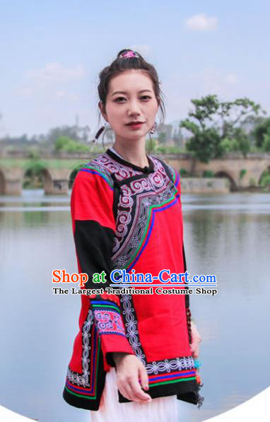 Chinese Yunnan National Costume Embroidered Red Flax Jacket Tang Suit Upper Outer Garment