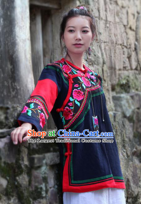 Chinese Yunnan Ethnic Costume Embroidered National Navy Flax Jacket Tang Suit Upper Outer Garment