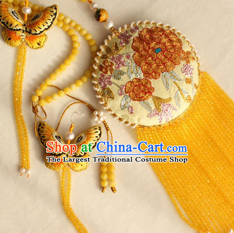 China Classical Yellow Beads Tassel Accessories Women Jewelry Handmade Traditional Embroidered Sachet Necklace