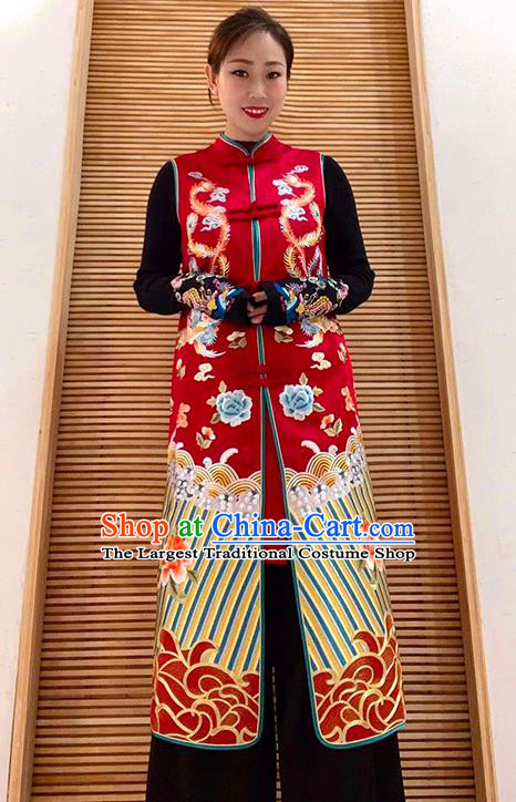 Chinese National Outer Garment Embroidered Phoenix Peony Red Brocade Long Vest Tang Suit Dust Coat