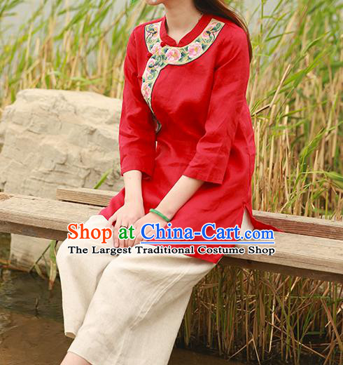 Chinese Tang Suit Embroidered Red Shirt National Upper Outer Garment Flax Costume