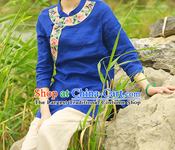 Chinese Tang Suit Blue Flax Blouse Costume Embroidered Shirt National Upper Outer Garment