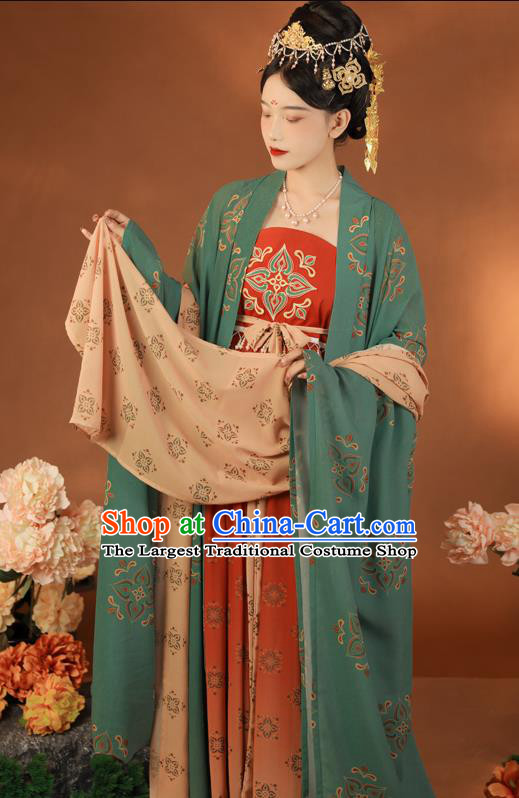 Traditional China Tang Dynasty Imperial Concubine Green Cape and Dress Ancient Court Women Hanfu Clothing
