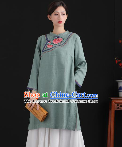 Chinese National Embroidered Green Flax Jacket Tang Suit Upper Outer Garment Women Blouse Costume