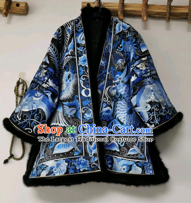China Tang Suit Cotton Padded Jacket National Winter Coat Traditional Embroidered Costume