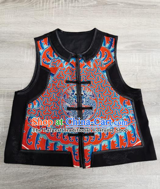 Top Grade China Traditional Upper Outer Garment Waistcoat Tang Suit Embroidered Dragon Red Silk Vest