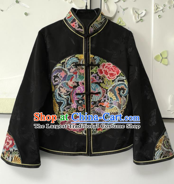 China Tang Suit Black Silk Jacket National Short Coat Traditional Embroidered Costume