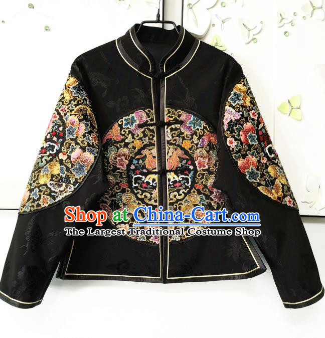 China National Women Short Coat Traditional Embroidered Costume Tang Suit Black Silk Jacket