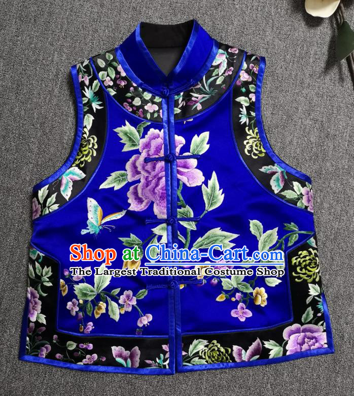 China National Embroidered Royalblue Silk Vest Traditional Tang Suit Upper Outer Garment Women Waistcoat
