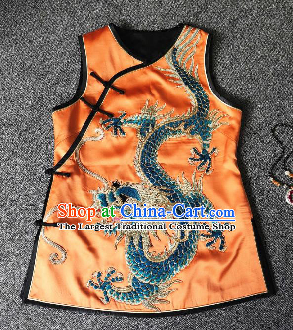 China Traditional Tang Suit Upper Outer Garment Women Waistcoat National Embroidered Dragon Orange Silk Vest