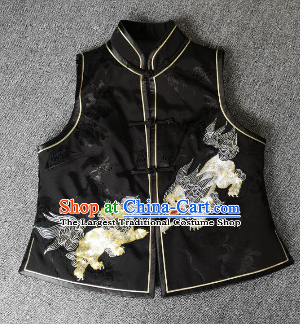 China Women Waistcoat National Embroidered Lion Black Silk Vest Traditional Tang Suit Upper Outer Garment