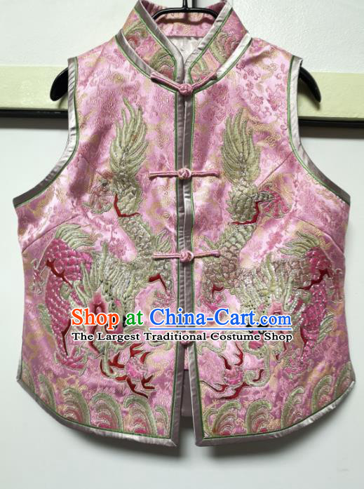 China National Embroidered Dragon Pink Silk Vest Traditional Tang Suit Upper Outer Garment Women Waistcoat