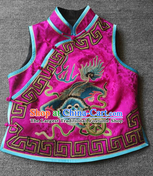 China National Rosy Silk Vest Traditional Tang Suit Upper Outer Garment Women Embroidered Waistcoat