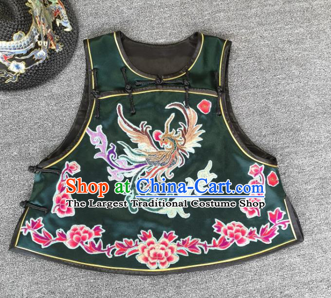 China Tang Suit Embroidered Phoenix Dark Green Silk Vest Traditional Women Waistcoat Upper Outer Garment