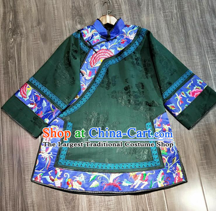China National Women Short Coat Traditional Qing Dynasty Embroidered Costume Tang Suit Green Silk Jacket