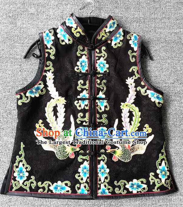 China National Black Silk Vest Women Embroidered Waistcoat Traditional Tang Suit Upper Outer Garment