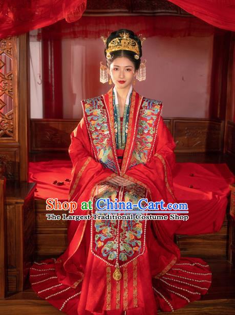 Chinese Ancient Song Dynasty Empress Historical Costumes Traditional Wedding Embroidered Hanfu Apparels Complete Set