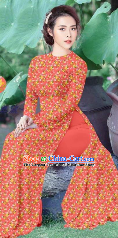 Vietnamese Traditional Ao Dai Dress Women Orange Qipao and Pants Asian Costume Vietnam Custom Cheongsam Uniforms