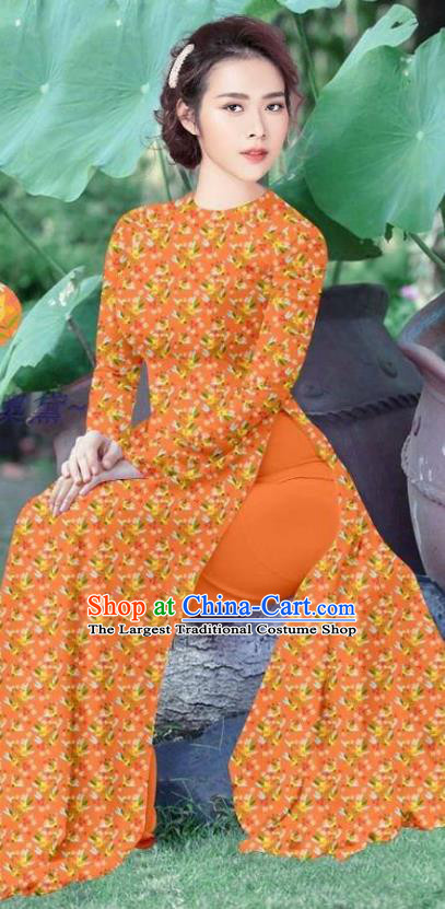 Asian Vietnamese Orange Cheongsam Custom Qipao and Pants Vietnam Traditional Ao Dai Dress Costume Women Uniforms