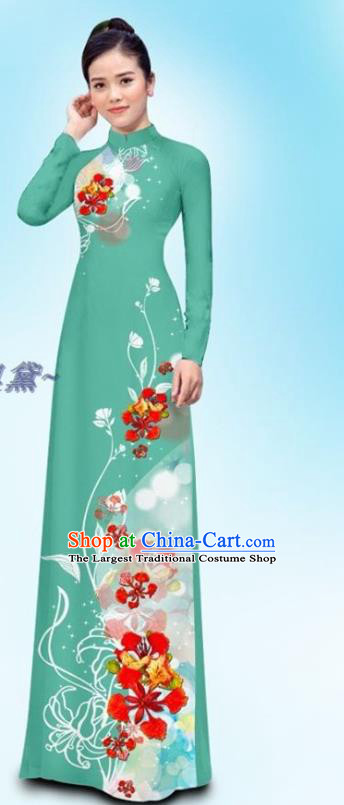 Traditional Vietnamese Woman Clothing Custom Green Uniforms Ao Dai Cheongsam and Pants Asian Vietnam Qipao Dress