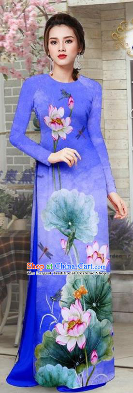 Custom Asian Vietnam Printing Lotus Royalblue Ao Dai Uniforms Vietnamese Traditional Qipao Dress with Pants Costume