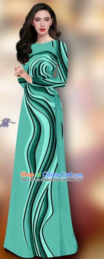Traditional Vietnam Female Dress Asian Ao Dai Clothing Vietnamese Green Cheongsam and Pants Custom Uniforms