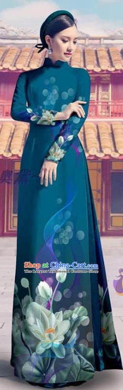 Teal Custom Vietnam Printing Cheongsam with Pants Beauty Costume Asian Vietnamese Ao Dai Dress Traditional Clothing
