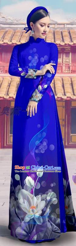 Vietnam Bride Printing Royalblue Cheongsam with Pants Custom Traditional Clothing Asian Vietnamese Ao Dai Dress Costume