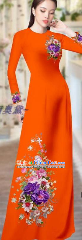 Vietnam Traditional Clothing Printing Cheongsam with Pants Asian Vietnamese Costume Custom Orange Ao Dai Dress