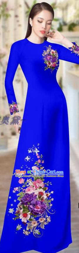 Vietnam Ao Dai Dress Custom Costume Traditional Female Clothing Asian Vietnamese Printing Royalblue Cheongsam with Pants