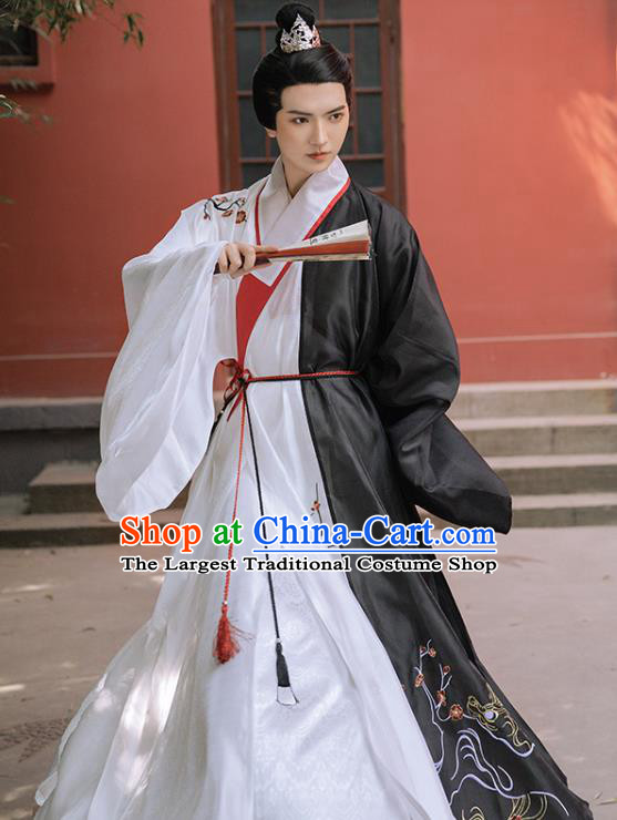 Chinese Ancient Childe Embroidered Black Robe Traditional Hanfu Apparel Ming Dynasty Swordsman Historical Costume for Men