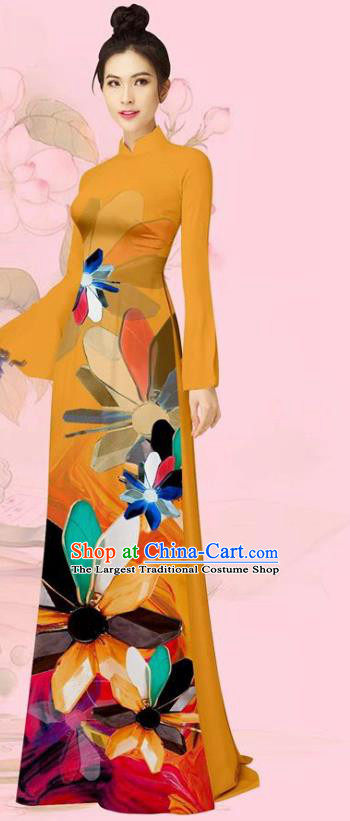 Traditional Vietnamese Ao Dai Custom Uniforms Asian Vietnam Costume Cheongsam with Pants Women Orange Long Dress