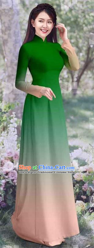 Vietnamese Classical Qipao Dress with Pants Costumes Asian Traditional Ao Dai Clothing Vietnam Gradient Green Cheongsam