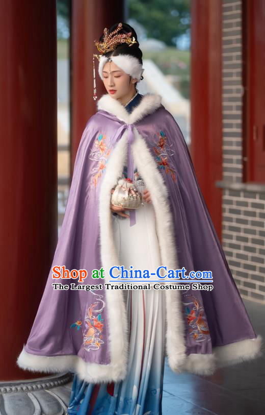 Chinese Ming Dynasty Embroidered Purple Cloak Historical Costume Traditional Ancient Princess Hanfu Apparel for Patrician Lady