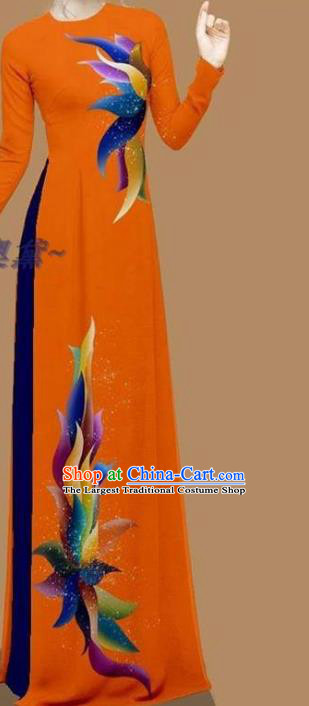 Orange Ao Dai Cheongsam Traditional Custom Clothing Asian Vietnamese Fashion Vietnam Women Qipao Dress with Pants