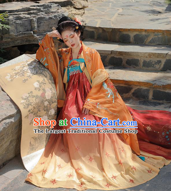 China Tang Dynasty Consort Yang Costumes Traditional Embroidered Orange Cape Blouse and Dress Ancient Hanfu Clothing