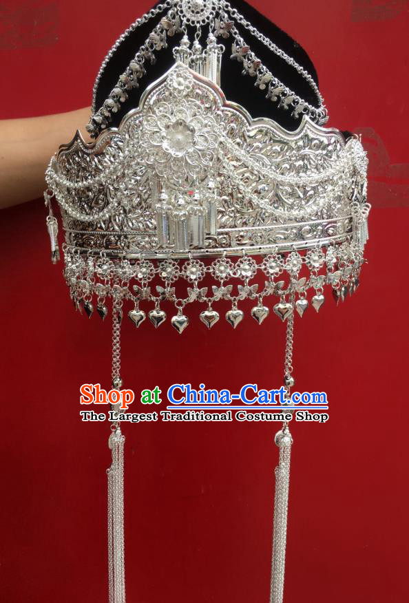 Chinese Miao Ethnic Wedding Silver Hat Minority Traditional Nationality Headdress Folk Dance Hair Accessories