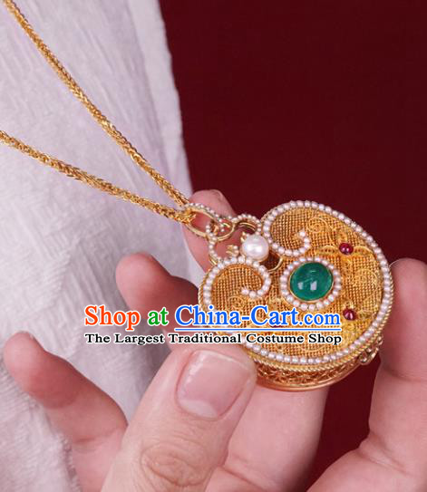 Chinese Traditional Pearls Jewelry Gems Accessories Ancient Qing Dynasty Court Golden Sachet Necklace Pendant