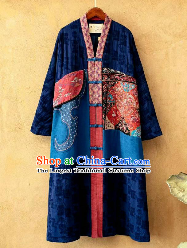 China National Women Dust Coat Traditional Embroidered Costume Tang Suit Navy Flax Overcoat