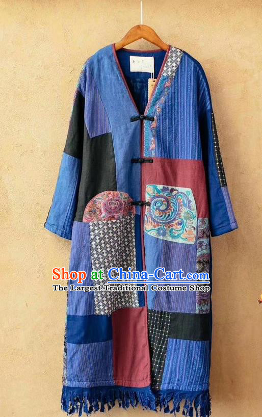 China Tang Suit Blue Flax Overcoat National Women Dust Coat Traditional Embroidered Costume