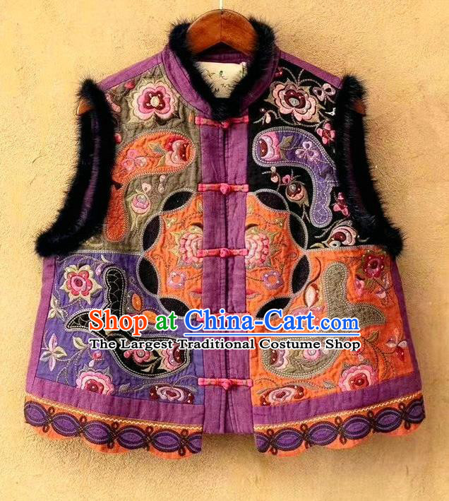 China National Guizhou Ethnic Embroidered Vest Women Traditional Tang Suit Upper Outer Garment Clothing Waistcoat