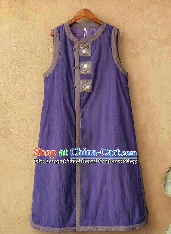 China National Violet Flax Long Waistcoat Women Traditional Tang Suit Upper Outer Garment Clothing Embroidered Vest