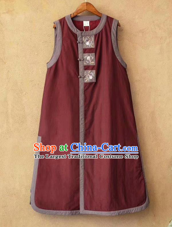 China Women Traditional Tang Suit Upper Outer Garment Clothing Embroidered Vest National Purplish Red Flax Long Waistcoat