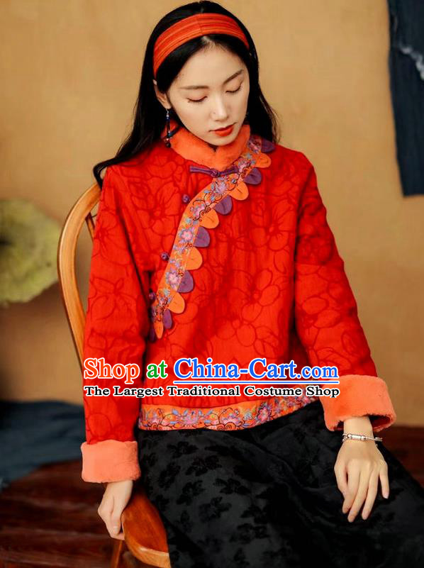 China Tang Suit Red Flax Cotton Padded Jacket National Women Overcoat Traditional Winter Top Costume
