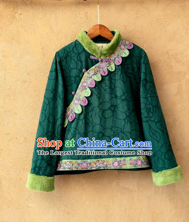 China National Women Overcoat Traditional Winter Top Costume Tang Suit Green Flax Cotton Padded Jacket