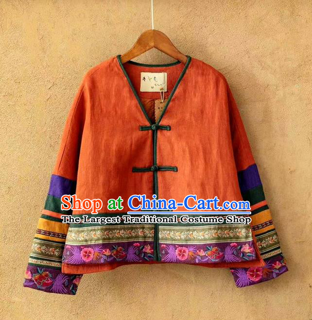 China Traditional Winter Costume Women Tang Suit Embroidered Coat National Orange Flax Cotton Padded Jacket