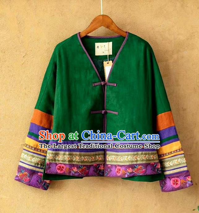 China Women Tang Suit Embroidered Coat National Green Flax Cotton Padded Jacket Traditional Winter Costume