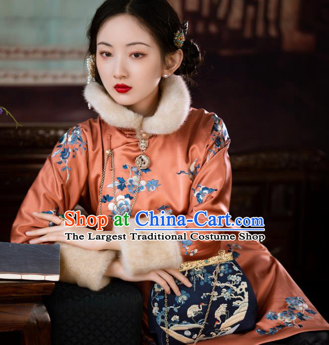 Chinese Traditional Orange Silk Cotton Padded Coat Qing Dynasty Noble Lady Embroidered Jacket for Women